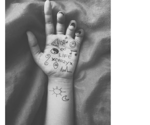 black and white, hand, and pizza image