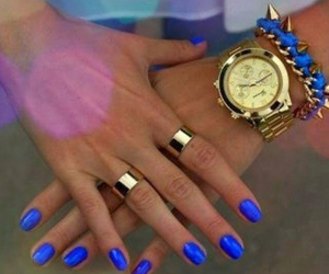 blue nails, electric, and nail polish image