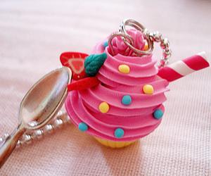 cupcake, key chain, and sweet image
