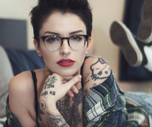 girl tattoo, short hair, and glasses image