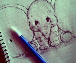 drawing, elephant, and dumbo image