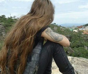 guy, long hair, and tattoo image