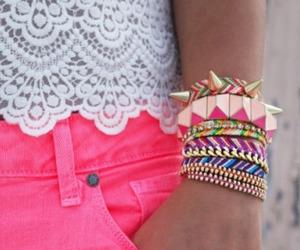 fashion, pink, and bracelet image
