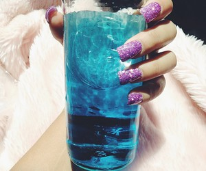 drink, nails, and blue image