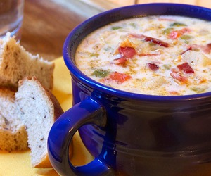 bread, soup, and yummy image