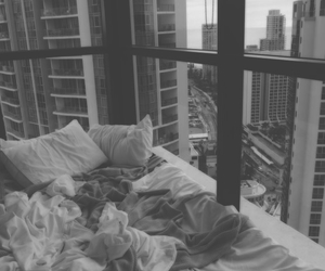 bed and city image