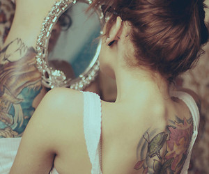 tattoo, girl, and mirror image