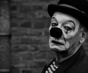 sad, clown, and black image