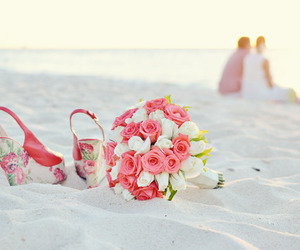 flowers, beach, and shoes image