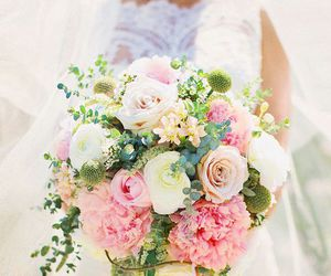 wedding, bouquet, and flowers image