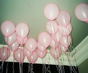 pink, balloons, and grunge image