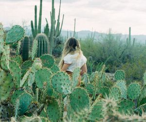 girl, cactus, and nature image