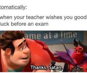 exam, luck, and satan image