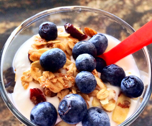 blueberries, granola, and healthy image