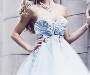 dress, blue, and rose image