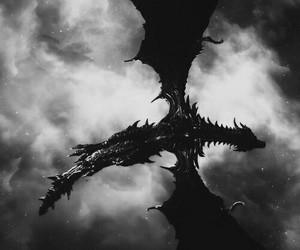 dragon, skyrim, and sky image