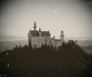 black and white, castle, and horror image
