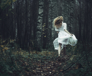 girl, forest, and run image