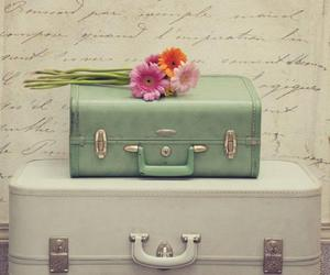 flowers, vintage, and suitcase image