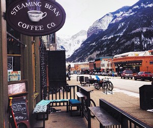 coffee, mountains, and cafe image