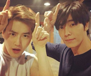 donghae, suho, and exo image