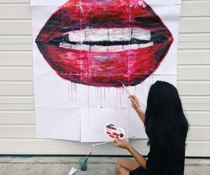 art, lips, and girl image
