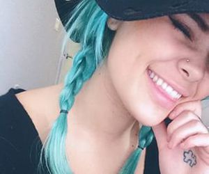 blue hair and smile image
