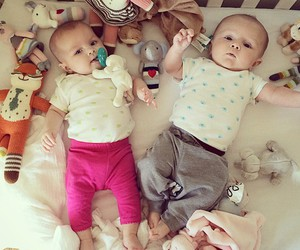 baby, twins, and love image
