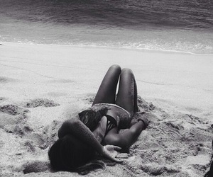beach, black and white, and hair image