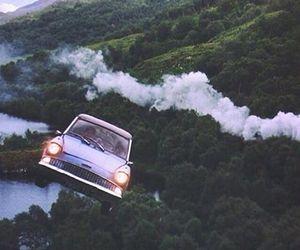 harry potter, car, and hogwarts image