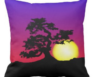 bonsai, sunset, and throw pillow image