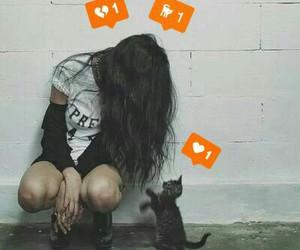 cat, broken, and girl image
