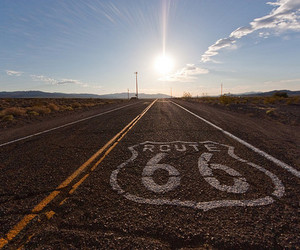 road, route 66, and sun image