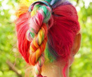hair, rainbow, and red image