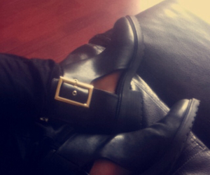black boots, random, and black image
