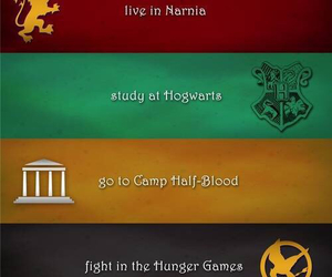 harry potter, narnia, and hunger games image