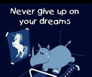 Dream, unicorn, and never give up image