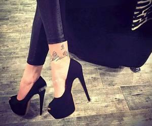 black, heels, and high image