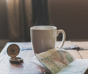 map, coffee, and travel image