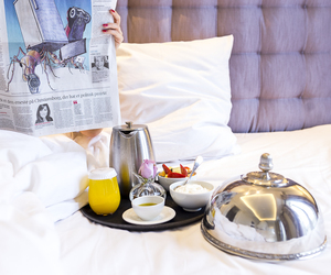 bed, breakfast, and luxury image
