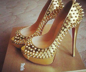 girls, gold, and heel image