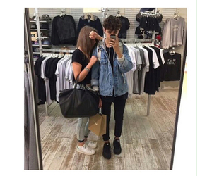 apple, black jeans, and couple image