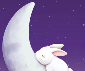 bunny, moon, and cute image