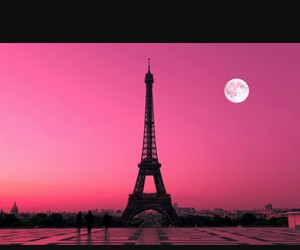 paris, moon, and pink image