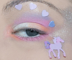 unicorn, eye, and pink image