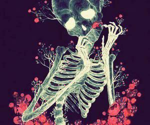 skull, skeleton, and flowers image