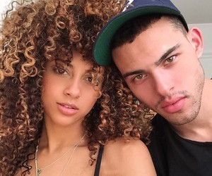 couple, interracial, and curly hair image