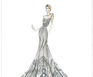 dress, drawing, and elie saab image
