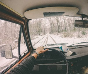 snow, car, and road image
