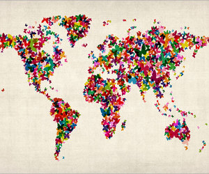 world, butterfly, and map image